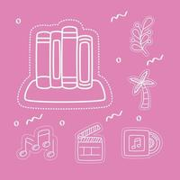 Stickers icon set with books vector