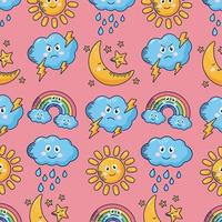 kawaii weather comic characters pattern background vector