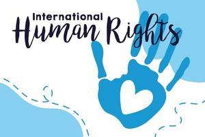 human rights campaign lettering with hand print and heart vector