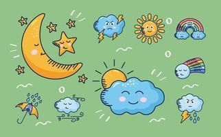 bundle of nine kawaii weather comic characters vector