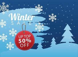 gran cartel de venta de invierno con etiqueta circular colgando en paisaje nevado vector