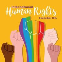 human rights campaign lettering with hands protesting and rainbow colors vector