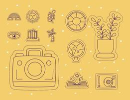 Stickers icon set with camera vector