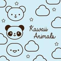 paquete de animales kawaii con estilo de línea de nubes y estrellas