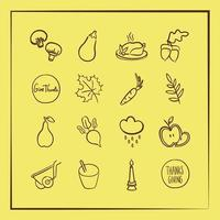 bundle of sixteen thanksgiving icons in yellow background vector