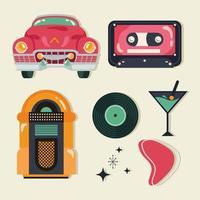 poster retro style icon set vector