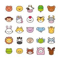 bundle of twenty five kawaii animals line and fill style vector
