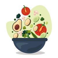 Cuenco con frutas y verduras frescas, iconos de comida sana