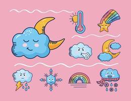 bundle of nine kawaii weather comic characters background vector