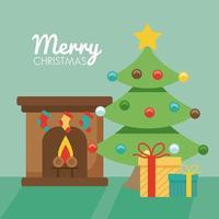 Feliz navidad pino con regalos en chimenea vector