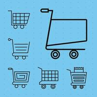 bundle of six shopping carts line style icons vector