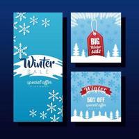 Tres grandes leyendas de rebajas de invierno con etiqueta y cinta. vector