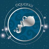 Acuario signo del zodiaco diseño plateado vector