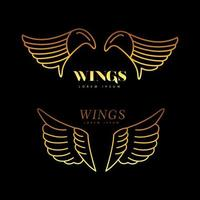 golden wings feathers line style icons vector