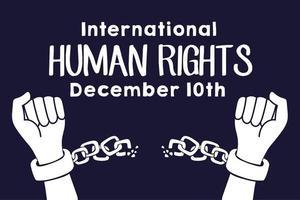 Letras de campaña de derechos humanos con manos rompiendo cadenas vector