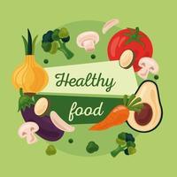 frutas y verduras frescas, iconos de alimentos saludables y letras