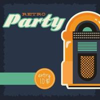 Retro style party poster with jukebox vector