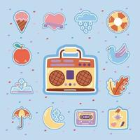 retro radio with set stickers flat style icons vector