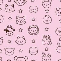 paquete de animales kawaii con estilo de línea de estrellas