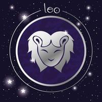diseño de plata del signo del zodiaco leo vector