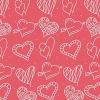 Hearts and love line style pattern vector