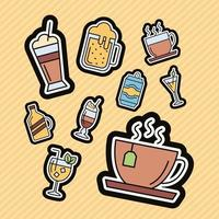 bundle of nine beverages stickers icons vector
