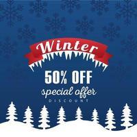 gran cartel de venta de invierno con marco de cinta en paisaje nevado vector