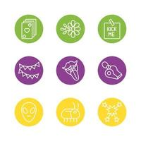 April fool's day icon set vector