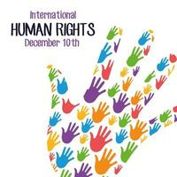 human rights campaign lettering with hands print colors with hand shape vector