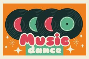 Retro style party poster with vinyl records vector