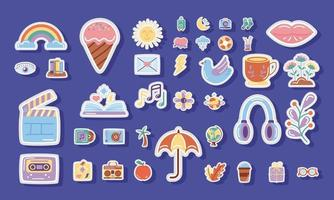 bundle of stickers icons in blue background vector