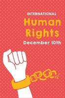 Letras de campaña de derechos humanos con cadenas rotas a mano vector