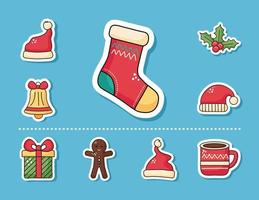 Merry Christmas sock and sticker set vector