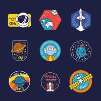 bundle of nine space badges in blue background line and fill style icons vector