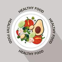 frutas y verduras frescas, marco circular de alimentos saludables con letras alrededor