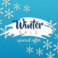 gran cartel de rebajas de invierno con letras en fondo azul vector