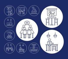 paquete de avatares de trabajadores, iconos de estilo de línea de coworking