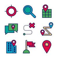 Map and location line and fill icon set vector