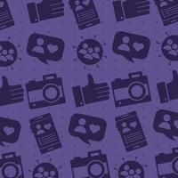pattern of social media block style icons vector