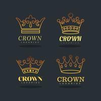 paquete de cuatro coronas de oro iconos de estilo de línea real vector