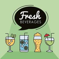 bundle of cocktails drinks and speech bubble icons vector