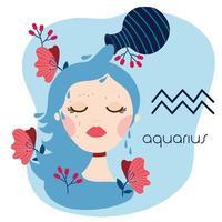 hermosa mujer con signo del zodíaco acuario vector