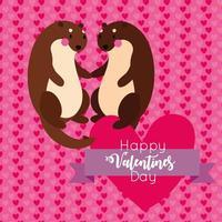 tarjeta de feliz día de san valentín con linda pareja de ardillas vector