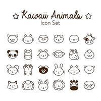 paquete de veinticuatro animales kawaii estilo de línea