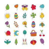 Hand-drawn spring icon set vector