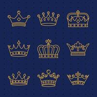 paquete de nueve coronas de oro iconos de estilo de línea real vector