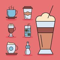 bundle of seven beverages icons vector
