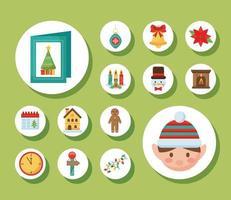 paquete de catorce iconos de estilo plano navideño vector