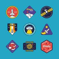 bundle of nine space badges line and fill style icons vector