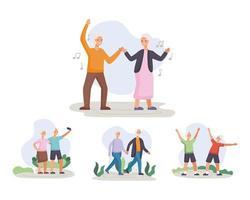 cuatro parejas de personas mayores activas practicando actividades personajes